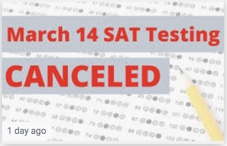March 14th SAT Testing Canceled
