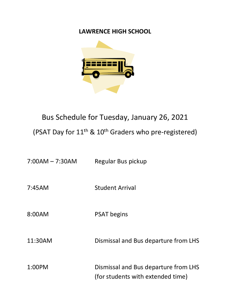 Bus Information for PSAT Exam- Tuesday 1/26/21