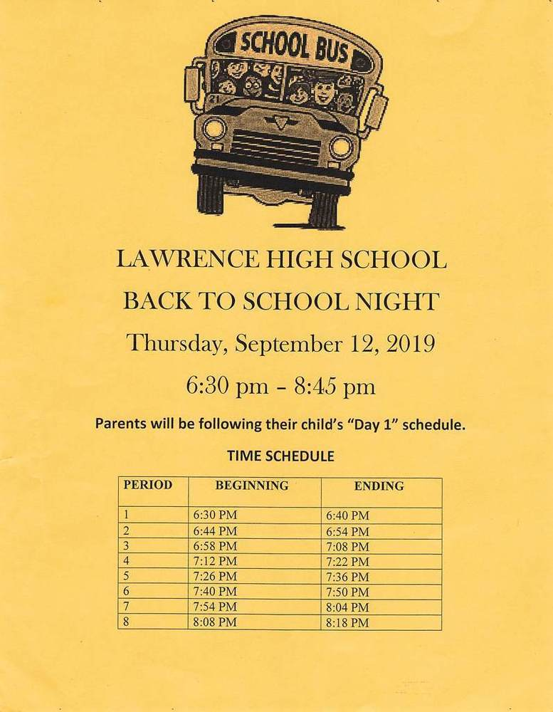 Back to School Night Thursday 9/12