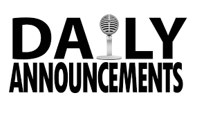 Daily Announcements 3/1/19