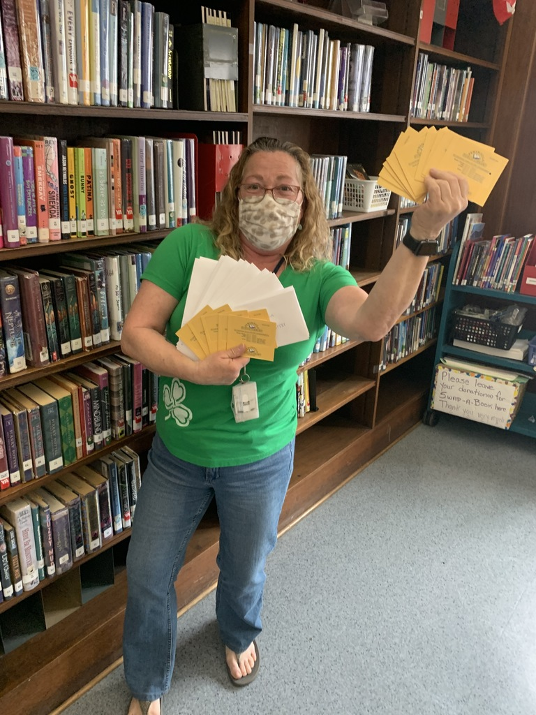 Ms. Abby is excited to send out Library Cards to LMS students!