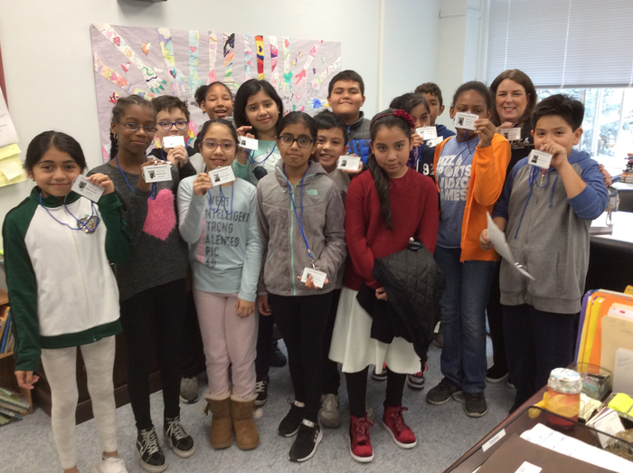 Fifth graders get IDs thanks to advisor Mrs. Talenti