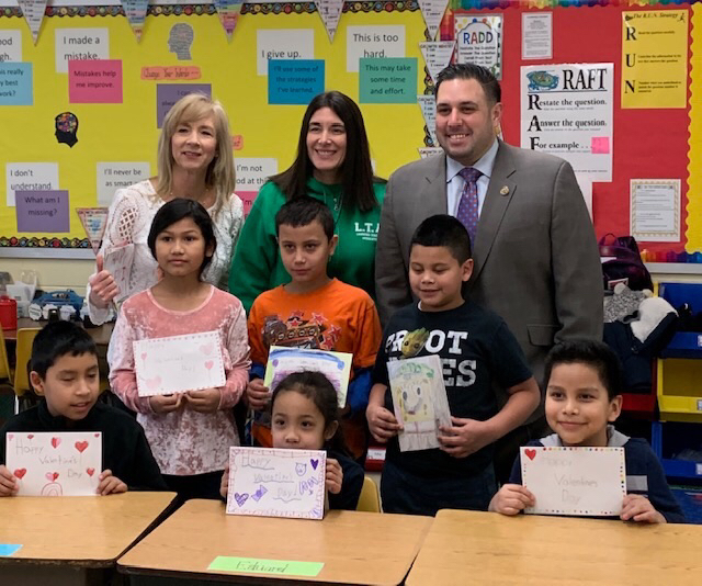 Mrs. McDonough's Class donates cards for Veterans to Councilman Anthony D'Esposito