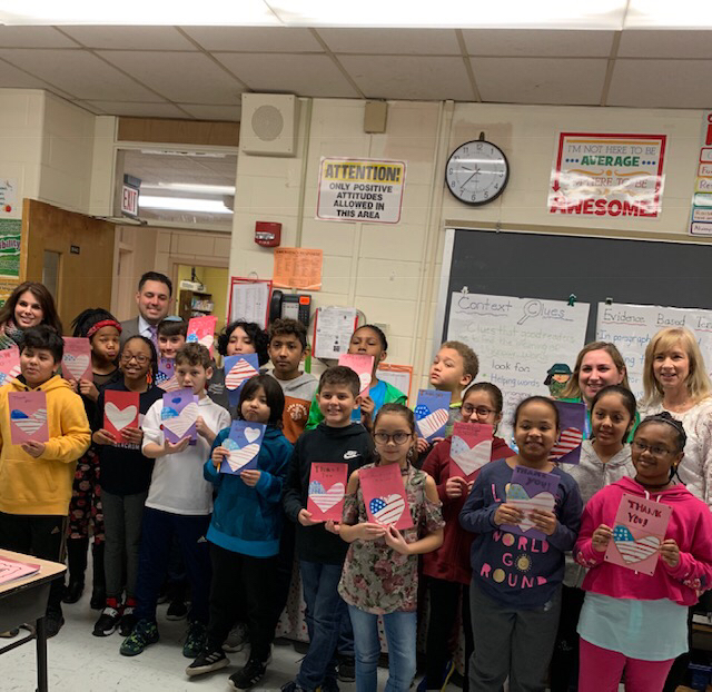 Ms. Putterman and Mrs. Bauer's Class are enthusiastic about donating their cards ♥️