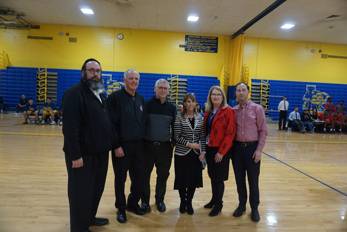 Ceremony to honor Basketball Official, Larry Miller, who suffered a Heart Attack at a BB game and First Responders, who helped save his life.  Supt. Dr. Ann Pedersen, Asst. Supt. Jeremy Feder, BOE members Dr. Asher Mansdorf, Heshy Blachorski and Assemblywoman Melissa Miller