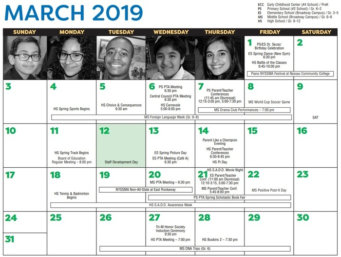 March 2019 District Calendar Page