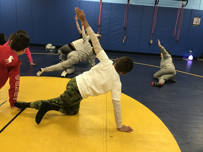 Some of our students focusing on holding their pose