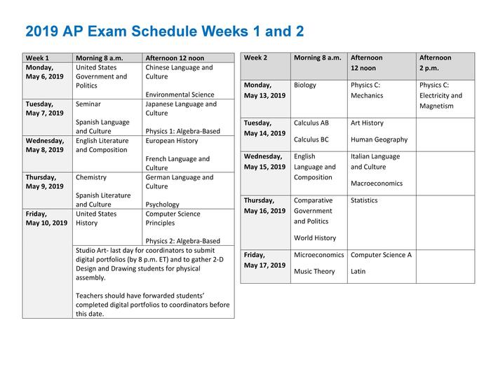 AP Exam Schedule