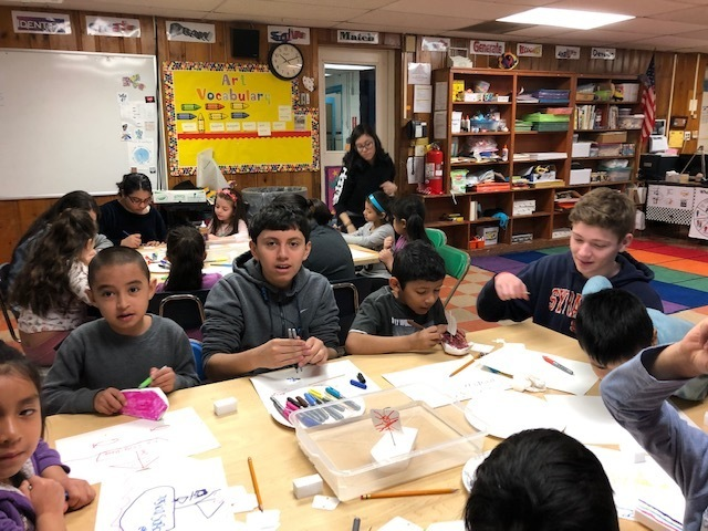 1st & 8th grade artists working together @ Lawrence Primary School