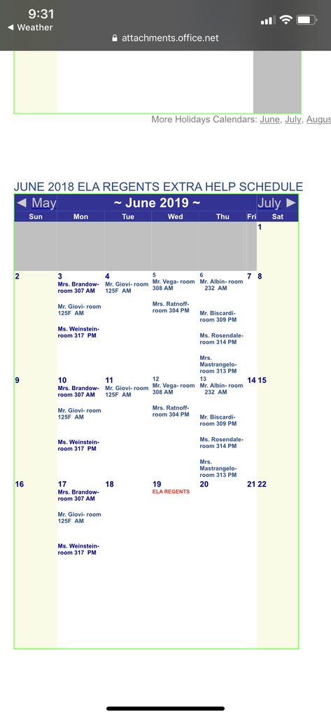June Review Schedule